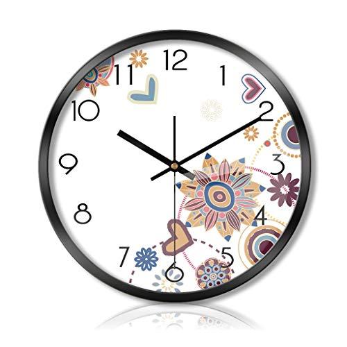 PLOP Reloj Pared 12/14 / 16inch Flor silenciosa del Reloj del Movimiento del Cuarzo del Reloj de Pared con Pilas for el Reloj hogar u Oficina de Cocina for niños Decoración de la Habitación