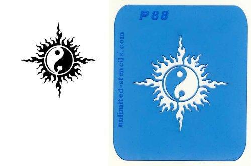 UNLIMITED STENCILS 1 Airbrush Tattoo Schablone SONNE-YIN-YANG # 88