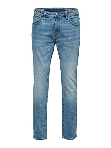 SELECTED HOMME SLHSLIM-Leon 3020 L.Blue ST Jeans W Noos, Denim Blu Chiaro, 32 Uomo