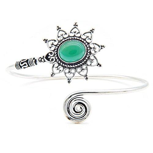 mantraroma Armreif Armband versilbert silbern Grüner Onyx grün (922-05-024-14)