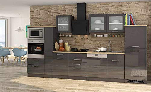 idealShopping GmbH Küchenblock Mailand 370 cm mit Apothekerauszug grau Hochglanz ohne Elektrogeräte
