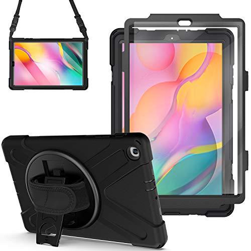 Gerutek Galaxy Tab A 10.1 2019 SM T510/T515 Hülle mit Displayschutzfolie Heavy Duty 360 Full Body Case Drehbar Ständer, Handschlaufe, Schultergurt Schutzhülle für Samsung Tab A 10.1 T510/T515, Schwarz