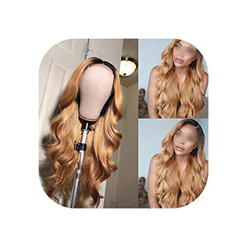 1B/27 Lace Front Human Hair Wigs With Baby Hair Wavy Pre Plucked Ombre Color Brazilian Remy Hair Wigs For Women Bleach Knots,T1B/27,10Inches