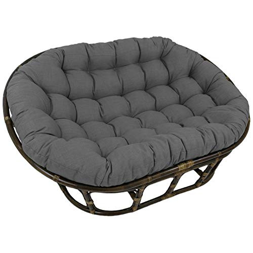 Blazing Needles 65-inch Indoor/Outdoor Double Papasan Cushion Cool Grey