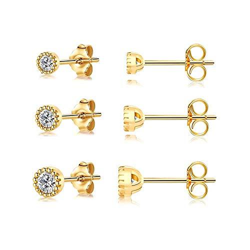 De las mujeres 3 unids / set cristales Geometría Stud Pendientes para mujeres Pequeños Piercings redondos de estrellas Pendiente 925 Joyería de plata esterlina Para decoración ( Gem Color : 6 gold )