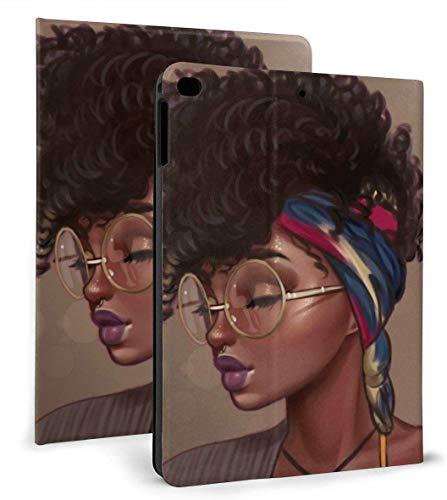 Funda Inteligente de Cuero PU para Mujer Negra afroamericana Función de Reposo / activación automática para iPad Mini 4/5 7,9 'y iPad Air 1/2 9,7'