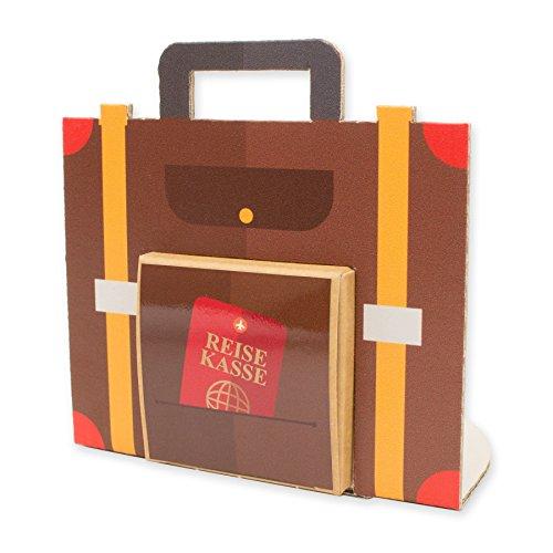 itenga Geldgeschenk oder Gastgeschenk Verpackung Reisekoffer Urlaub aus Karton 10x10cm