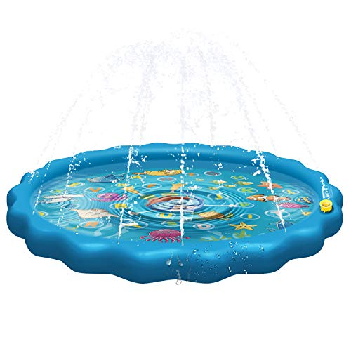 Balhvit [Upgrade Thicken Splash Pad Water Sprinkler for Kids, 68' Inflatable Water Mat Toys for Toddlers, Summer Outdoor Wading Pool with Fun, Backyard Learning Play Mat for Age 1-12 Boys Girls