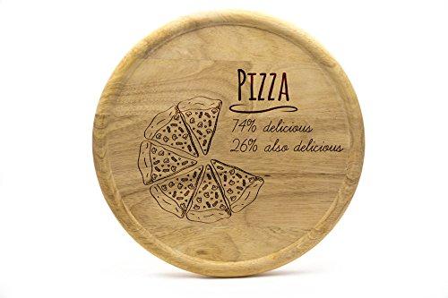 Pizzateller 32cm aus Holz (Gummibaumholz) - Pizza Motiv - Delicious Pizza   Gravur   Geschenk   Pizzateller