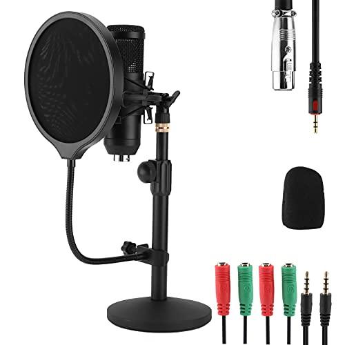 Micrófono de condensador inalámbrico, fácil de instalar y usar Puertos de audio duales Juego de micrófono de cabeza redonda para Live for Home