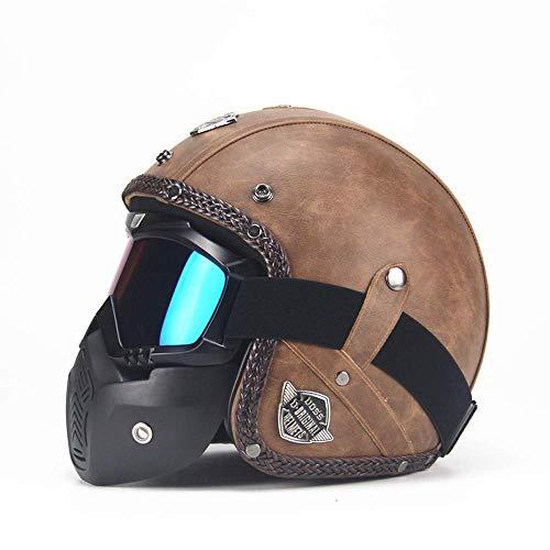 JLbao Retro Motorradhelm handgefertigt PU Leder Integralhelm Unisex Integralhelm Roller gekrümmten Helm mit Sonnenblende, Maske, Brille,XL