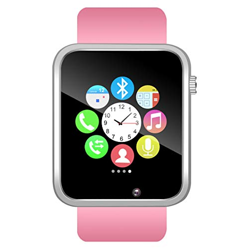 Padgene Bluetooth Smartwatch,Touchscreen Wrist Smart Phone Watch Sports Fitness Tracker with SIM SD Card Slot Camera Pedometer Compatible with iOS Android for Kids Men Women (Pink)