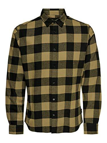 ONLY & SONS NOS Herren onsGUDMUND LS Checked Shirt NOOS Freizeithemd, Braun (Kangaroo Kangaroo), Large (Herstellergröße: L)