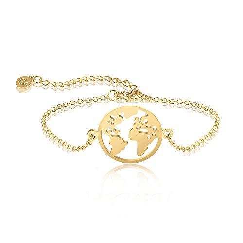 Good.Designs ® Damen Armkette mit Weltkugel Anhänger (verstellbar) Weltkarte Armband mit kleinem Globus (Gold)