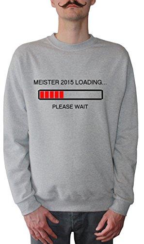 Mister Merchandise Homme Sweatshirt Meister 2015 Loading Meisterschule AbschlussPull Sweat Men, Taille : L, Couleur: Gris