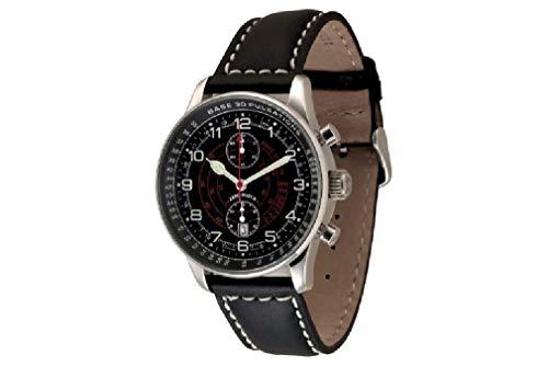 Zeno-Watch Herrenuhr - X-Large Pilot Chrono Pulsometer - P557BVD-a1-Puls