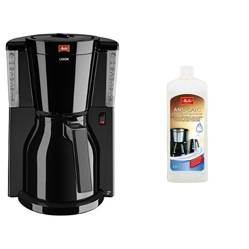 Melitta Kaffeefiltermaschine Look Therm, Aromaselector, Thermkanne, schwarz 101110 + Melitta 192618 Flüssigentkalker