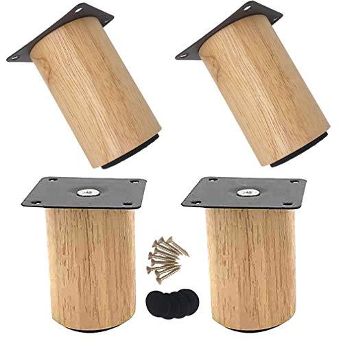 XHCP patas de muebles de madera maciza redonda patas de muebles, sofá banco, sillón, clóset, patas de armario, madera de goma, con accesorios de montaje, juego de 4 (8 cm), 15cm/5.9in