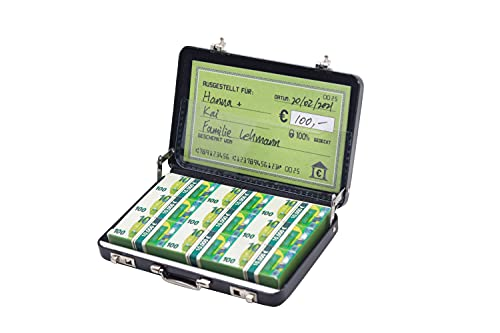 Caja de dinero para cumpleaños o como embalaje para cupones – Mini maletín de aluminio con cierre a presión como regalo de boda y tarjeta de felicitación – Ideal como regalo