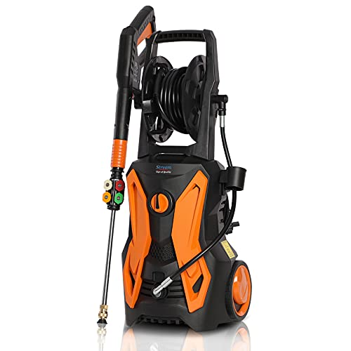 Electric Pressure Washer, Max. 3600PSI 2.4GPM 2000W High Power Washer with Hose Reel Spray Gun 5 Nozzle Adapter, and Detergent Tank, for Cleaning Cars/ Fences/ Patio
