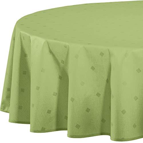 Erwin Müller abwaschbare Tischdecke, Tischwäsche Neuss im Rautendesign, grün Größe oval 140x190 cm - acrylversiegeltes Gewebe für leichtes Wischen (weitere Farben, Größen)