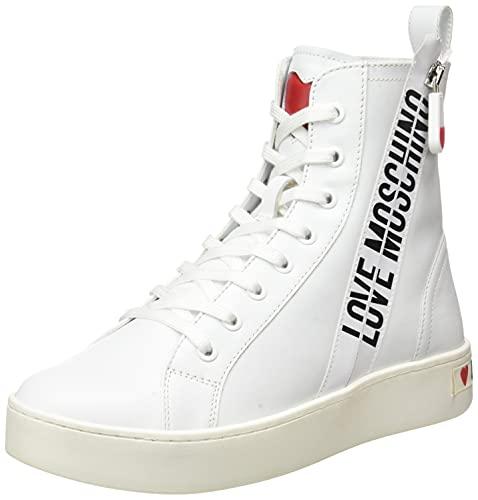 Love Moschino Pre-Collezione Fw21 High Sneakers Donna In Pelle Zipper, Collection FW21-Zapatillas Altas Piel con Cremallera Mujer, Color Blanco, 41.5 EU