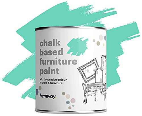 Hemway Matt Shabby Chic Chalk Based Mobili Paint 1L Peppermint blu adatto per gli interni Mobili, Armadi, scaffali, tavoli e sedie, secchezza rapido Chalky finitura liscia touch
