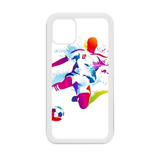 Funda para iPhone 12 Pro Max con diseño de deportistas de fútbol para Apple Mini, color blanco