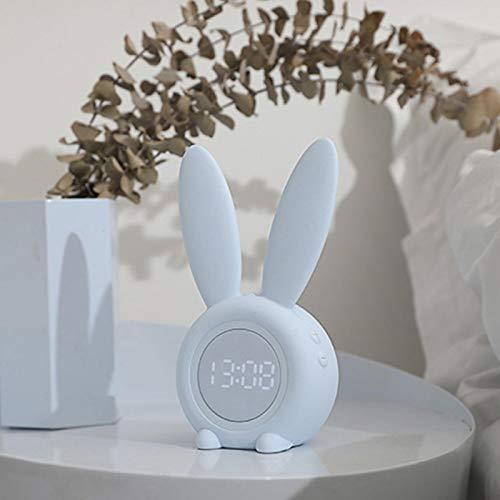 58bh Wecker, ABS Silikon Häschen Kaninchen geformt Temperatur Kalender Display Digital Cute Touch Control Snoozing Wiederaufladbares Nachtlicht für Mädchen Jungen Kleinkind Kinder Zuhause