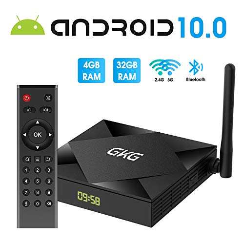 TV Box Android 10.0, GKG Android TV Box 4GB RAM 32GB ROM Allwinner H616 Quad-core Dual-WiFi 2.4G + 5G Soporte BT 4.1 USB 3.0 Ethernet 4K 3D Smart TV Box [2020 Versión]