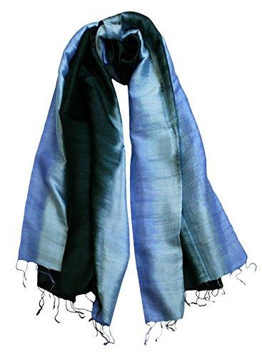 Exklusiv Seidenschal Pure Silk ca. 180 cm x 75 cm dreifarbig, Farbe Schals:black/desk blue/fresh (21)