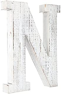 Distressed White Alphabet Wall Décor / Free Standing Monogram Letter