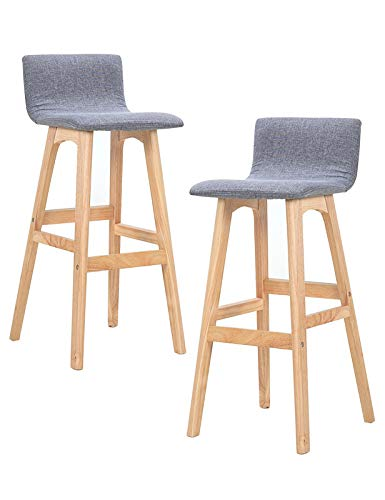 MYAOU Juego de 2 sillas de Comedor de Cocina, sillas Altas de cojín de Lino Suave, taburetes de Bar adecuados para Cocina, cafetería, hogar, Patas de Madera Maciza
