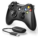 Wireless Controller for Xbox 360, YAEYE 2.4GHZ Game Joystick Controller Gamepad Remote for Xbox 360 Slim Console, PC Windows 7,8,10 (Black)