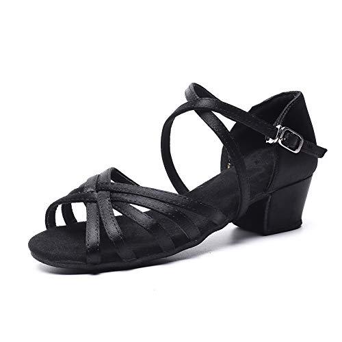 Girls Latin Dance Shoe Satin 1.1inch Heel Practice Party Ballroom Wear Black 3.5 M US Big Kid