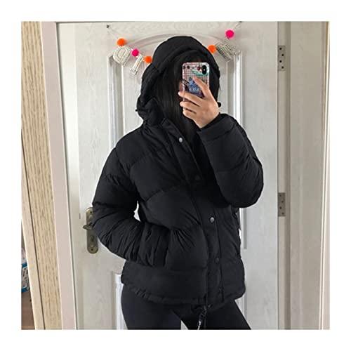 Abrigo cálido de algodón grueso para mujer Abrigo de moda de las mujeres Casual Zip Bolsillas de cremallera acolchada Parka chaqueta abrigo con capucha removible (Color : Noir, Size : M)
