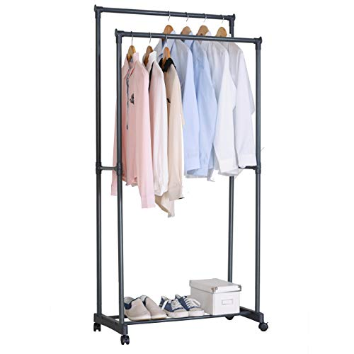 WOLTU SR0004 Kleiderständer Garderobenständer auf Rollen, Teleskop Wäscheständer mit 2 Kleiderstange, mit Ablage