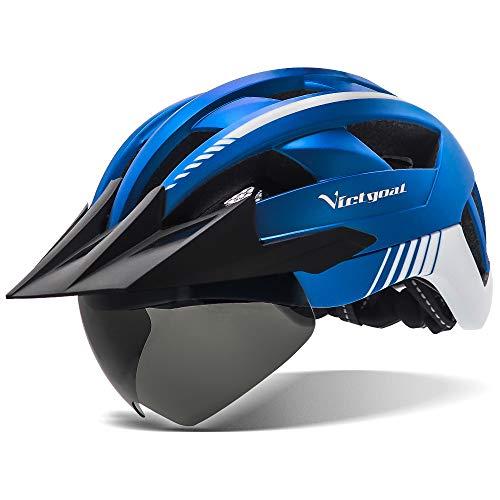 Victgoal Casco de bicicleta con luz LED recargable USB Gafas magnéticas extraíbles visera transpirable MTB Mountain Bicycle Casco para unisex hombres mujeres ajustable Ciclo Cascos (metal azul)