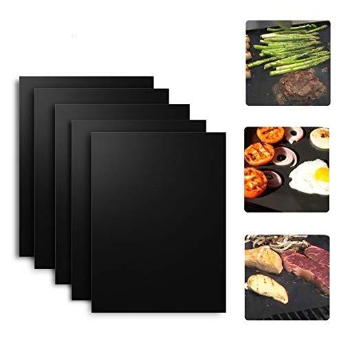 BBQ Grillmatte 5er Set Backen Matte Barbecue Grillplatten hitzebeständig für Gasgrill Kohlegrill Ofengrill Elektrogrill (5)