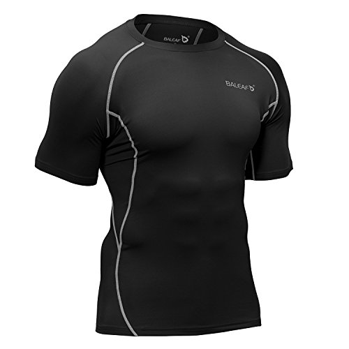 Baleaf Men's Short Sleeve Running Fitness Workout Compression Base Layer Shirt Color Green Size M