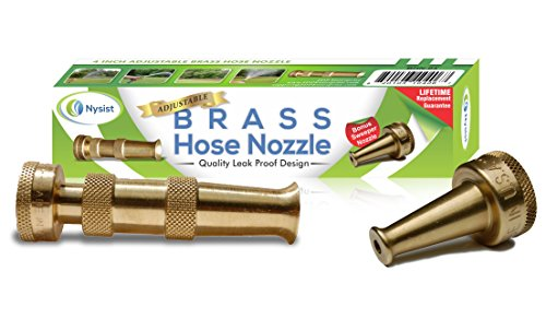 Hose Nozzle ~ Solid Brass ~ Adjustable Spray Patterns ~ Made in USA ~ with Bonus High Pressure Sweeper Nozzle