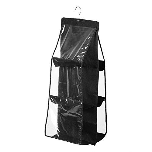 Telituny Hängande handväska-6 fickhyllor väskor plånbok handväskor arrangör dörr hängande lagring skåp klädhängare dekoration (svart)
