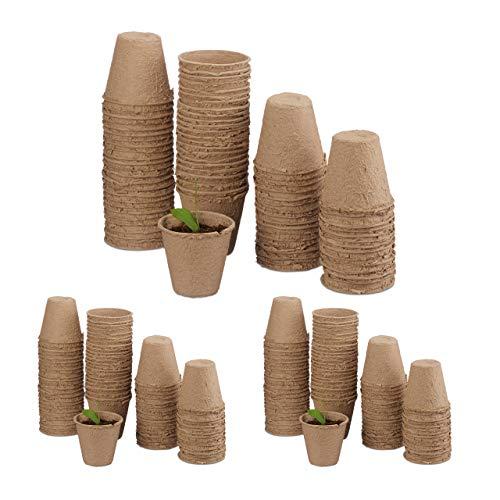 Relaxdays 240 x Anzuchttöpfe im Set, biologisch abbaubar, für Pflanzen, Pflanztöpfe, Zellulose, Aussaattöpfe rund, 8 cm, beige