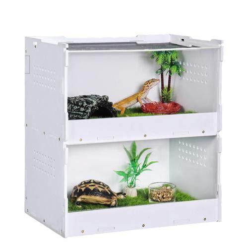 Rvest Glas Terrarium, Durchscheinend Glasterrarium Reptielien,Reptilienzuchtbox Doppelschicht-Fütterungsbox Für Spinnenechsen-Frosch-Cricket-Schildkröte
