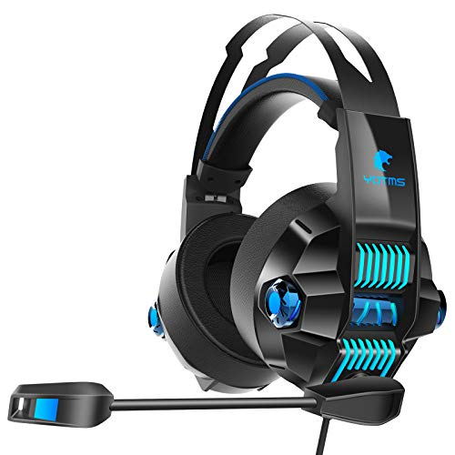 Xbox One Stereo Gaming Headset for PS4, PS5, PC, Nintendo Switch,YOTMS Y1 PS4 Headset with 7.1 Surround, Over Ear Headphones with Noise Canceling Mic, RGB Light (Blue)