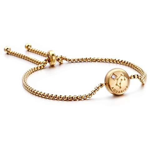 Qings Acuario Zodíaco Pulsera chapada en Oro Exclusiva Constelaciones Horóscopo Astrología Ajustable con circonita Brillante para Mujeres y niñas