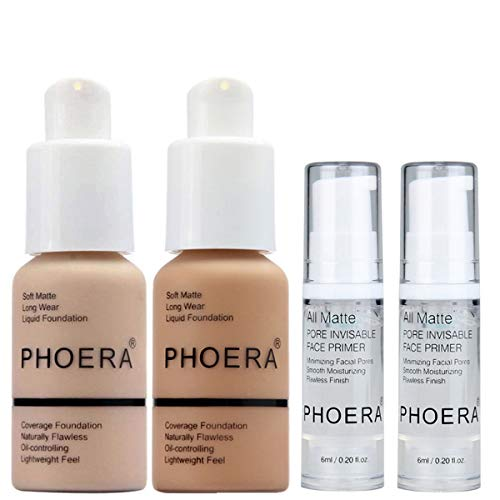 PHOERA 30ml Foundation Liquid Full Coverage 24HR Matte Oil Control Concealer (Nude #102)(Buff Beige #104) with 2Pcs 6ml Makeup Lasting Facial Moisturizing Face Primer