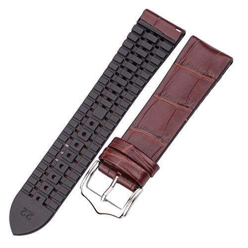 Beapet Cuero Genuino con la Banda de Reloj de Goma 18 20 22mm Black Brown Hombres Mujeres Impermeable Transpirable Reloj Accesorios (Color : Brown, Size : 22mm)