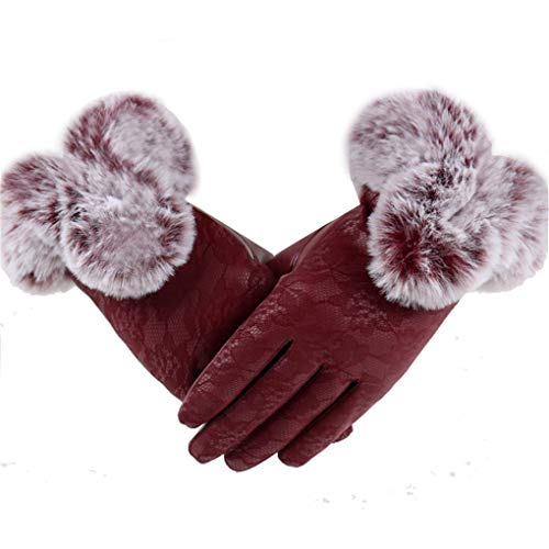 Dorical Damen Winter Kunstlederhandschuhe Touchscreen Handschuhe Touchscreen, Warme Outdoor Handschuhe Elegant Lammfelll Kaninchenfell Motorrad Radfahren Handschuhe(Weinrot,One Size)
