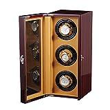 JHSHENGSHI Enrolladores de Relojes, Pantalla giratoria automática para Cajas de Relojes con Motor silencioso para 3 Relojes, Caja de presentación giratoria para Relojes, Caja vibradora para Relojes